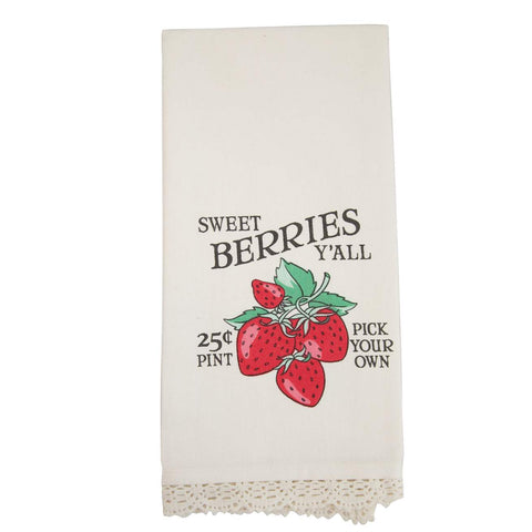 Sweet Strawberries Towel with Lace Trim