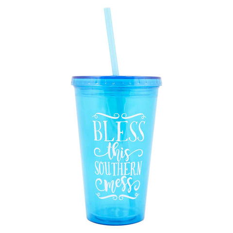 Bless This Southern Mess Tumbler w/straw