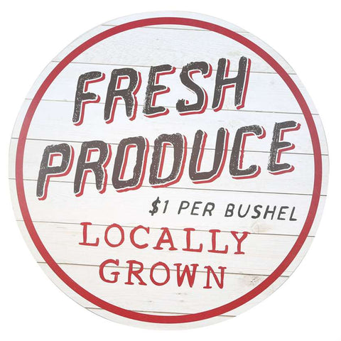 Fresh Produce Round Wall Sign