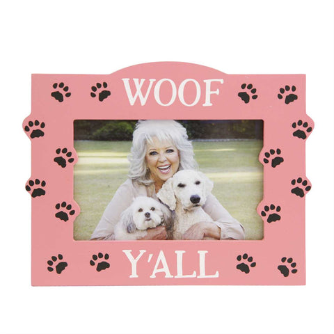 Woof Y'all Dog Picture Frame Pink