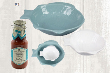 Ceramic Fish Bowl 2pc set with Paula Deen Cocktail Sauce