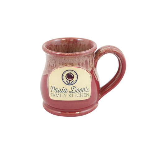 Paula Deen Round Belly Handmade Coffee Mug 10oz Cranberry w/White Sand