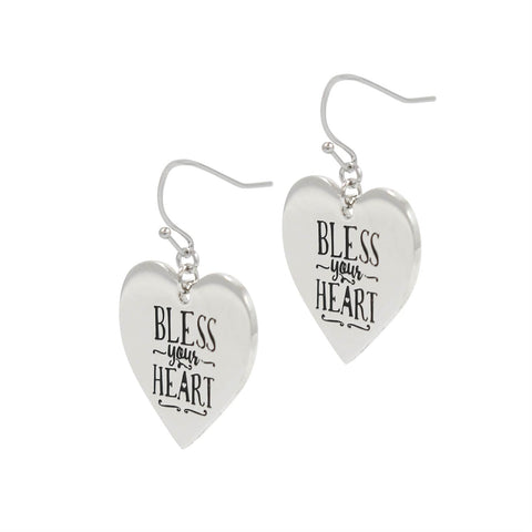 Paula Deen Bless Your Heart Silver Tone Earrings by JTV
