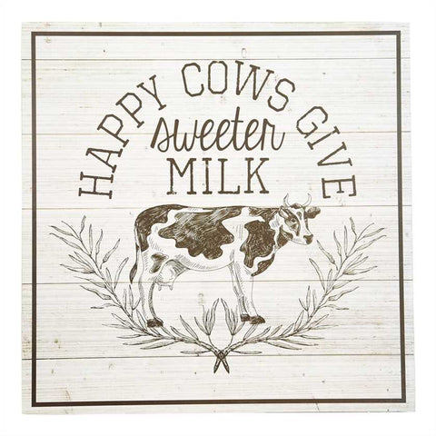 Happy Cow wooden Wall Sign