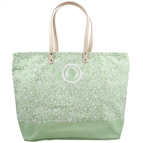 Foral Pattern Green Canvas Tote