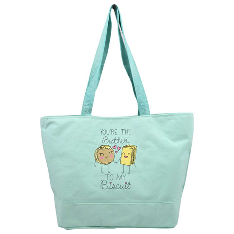Butter to My Biscuit Green Canvas Tote
