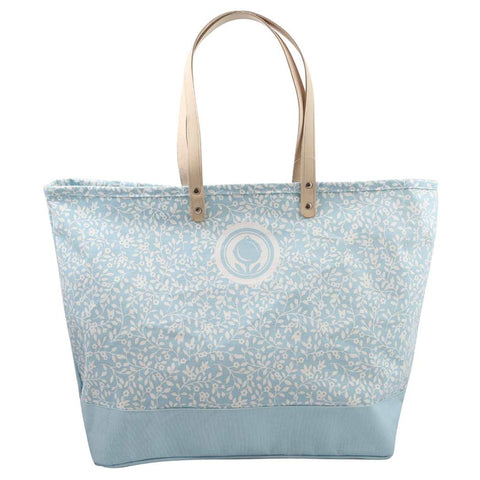 Floral Pattern Blue Canvas Tote