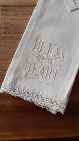 Bless Your Heart white hand towel