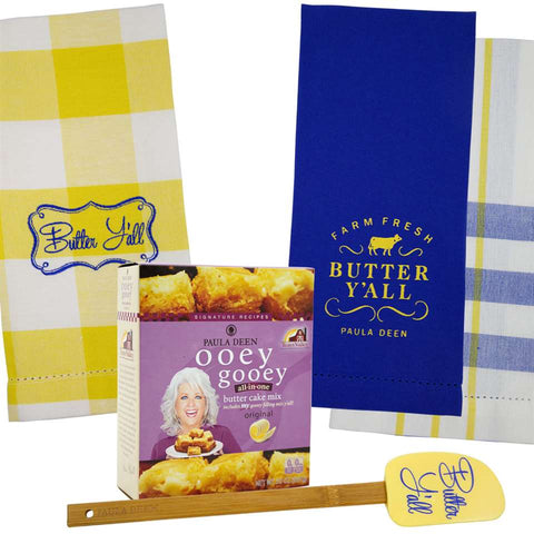 Butter Together Bundle includes Ooey Gooey Butter Mix, Butter Y'all Spatula & Butter Y'all 3pc. Towel Set