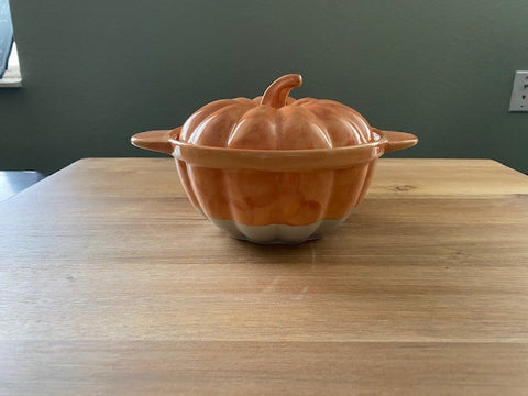 Small Pumpkin Shaped Stoneware Casserole Dish