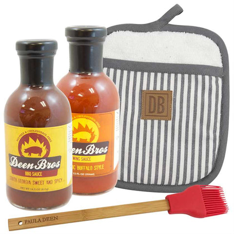 Deen Brothers Grilling Bundle includes Deen Brothers Sweet & Spicy Molasses BBQ Sauce, Deen Brothers Buffalo Wing Sauce, Hey Y'all Silicone Baster and Deen Brothers Striped Pot Holder