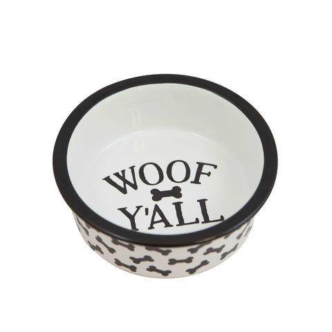 Woof Y'all Black Dog Bowl