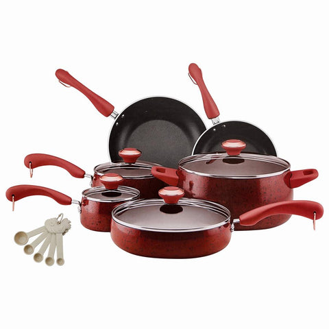 Cookware Set 15pc. Red Speckle