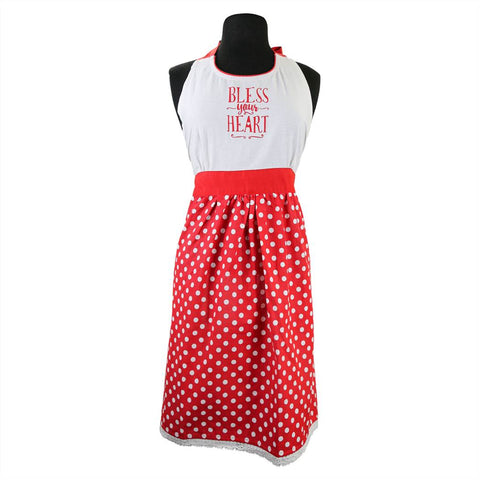 Bless Your Heart Polka Dot Apron