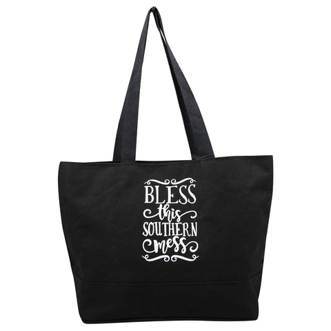 Bless This Southern Mess Black Canvas Tote