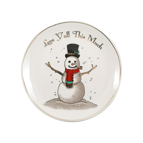 Love Y'all This Much Ceramic Snowman Plate