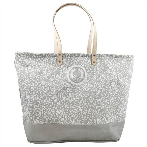 Floral Pattern Gray Canvas Tote