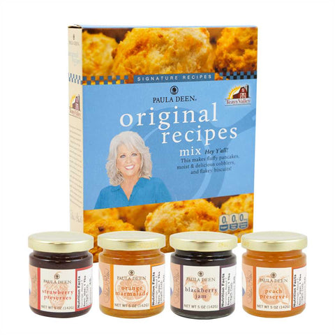 Breakfast Bundle: Original Recipes Mix, Blackberry Jam, Peach Preserves, Strawberry Preserves and Orange Marmalade