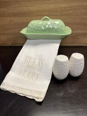 Mother's Day bundle includes: Green hammered look butter dish, white Bless Your Heart towel, floral salt & pepper set