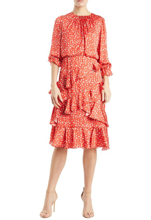 ML Asymmetrical Printed Ruffled Dress