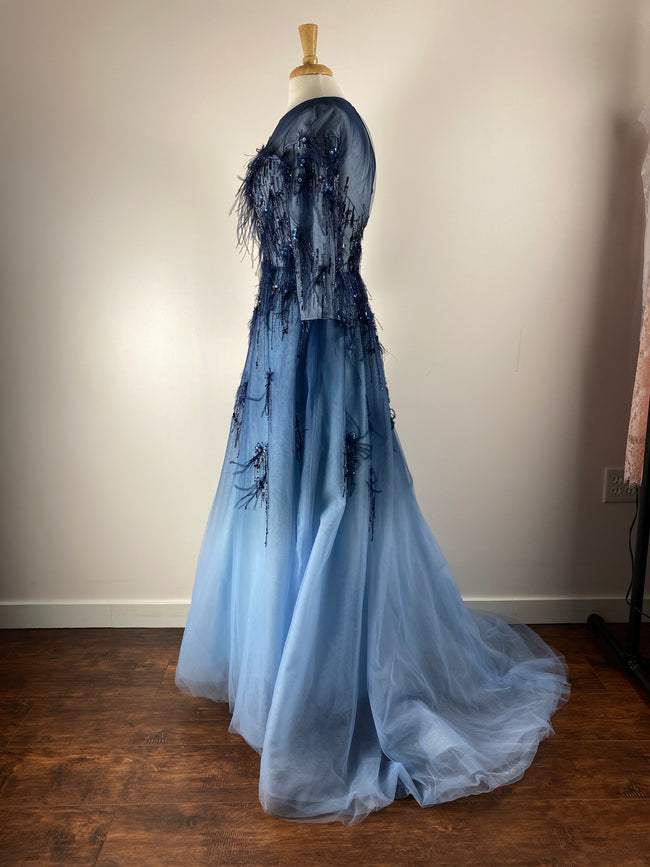 POWDER COUTURE Mid-night blue ombre gown
