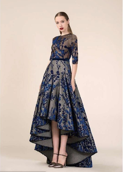 SAIID KOBEISY High Low Blue velvet and tulle gown.