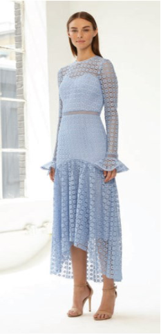 Light blue Crochet Lace High-low Dress