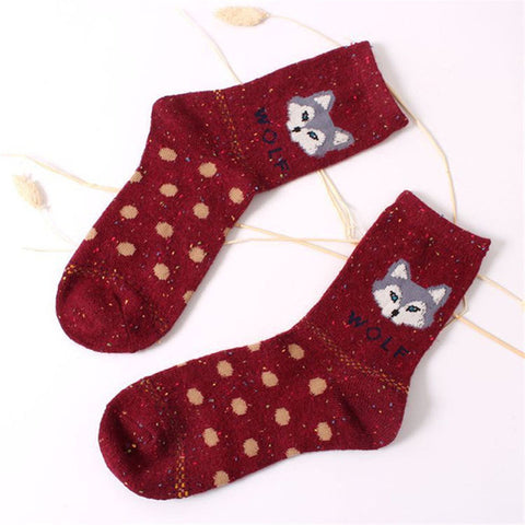Thick Wool Cotton Wolf Socks - Premium Wolf Store