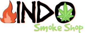 smoke shop, indo smokeshop, fire image, leaf image, logo