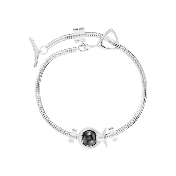 Phiiish Charm Bracelet in Premium Stainless Steel (316L) with 1 Magnetite Fish Charm