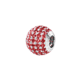 Phiiish 8mm Red Garnet Colour Crystal Charm in Sterling Silver