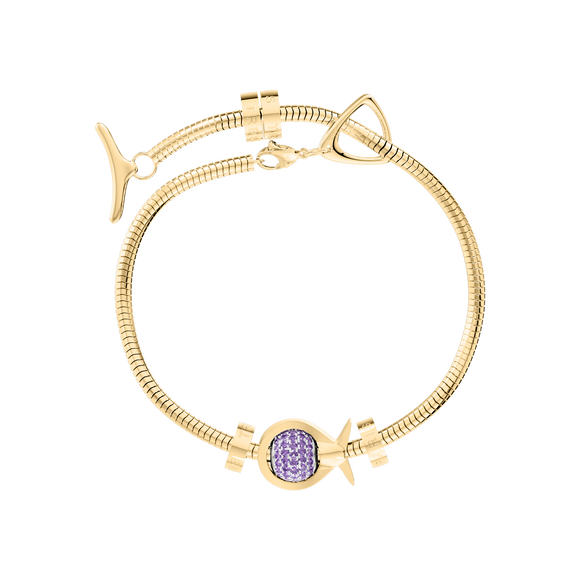 Phiiish Charm Bracelet in Premium 18K Gold Plated Stainless Steel with 8mm Amethyst Colour Crystal Charm in Sterling Silver