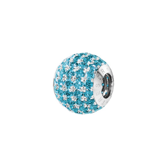 Phiiish 8mm Aquamarine Colour Crystal Charm in Sterling Silver