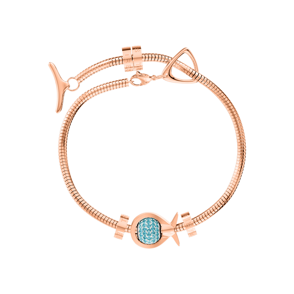 Phiiish Charm Bracelet in Premium 18K Gold Plated Stainless Steel with 8mm Aquamarine Colour Crystal Charm in Sterling Silver