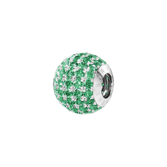 Phiiish 8mm Emerald Colour Crystal Charm in Sterling Silver