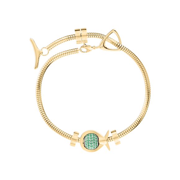 Phiiish Charm Bracelet in Premium 18K Gold Plated Stainless Steel with 8mm Emerald Colour Crystal Charm in Sterling Silver