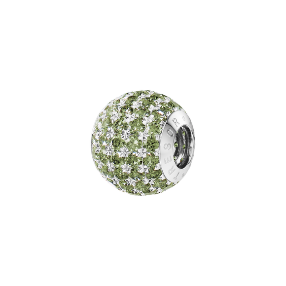 Phiiish 8mm Sterling Silver Peridot Colour Crystal Charm