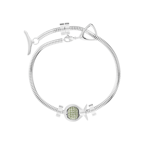 Phiiish Charm Bracelet in Premium 18K Gold Plated Stainless Steel with 8mm Peridot Colour Crystal Charm in Sterling Silver