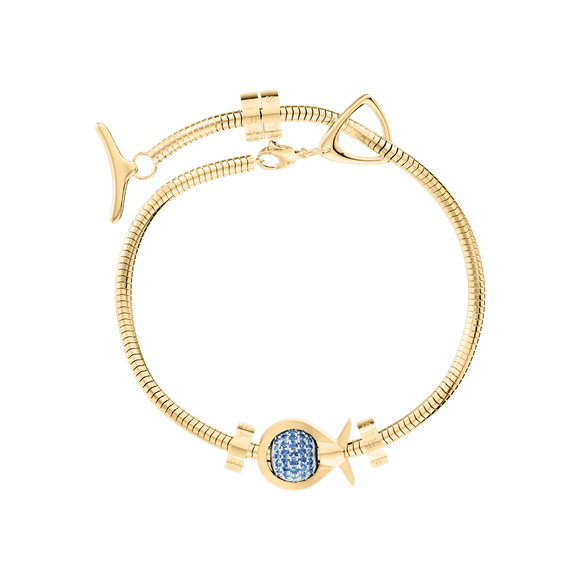 Phiiish Charm Bracelet in Premium 18K Gold Plated Stainless Steel with 8mm Blue Sapphire Colour Crystal Charm in Sterling Silver