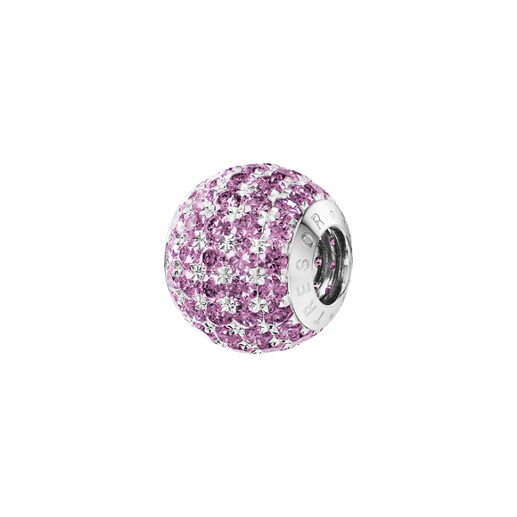Phiiish 8mm Pink Tourmaline Colour Crystal Charm in Sterling Silver