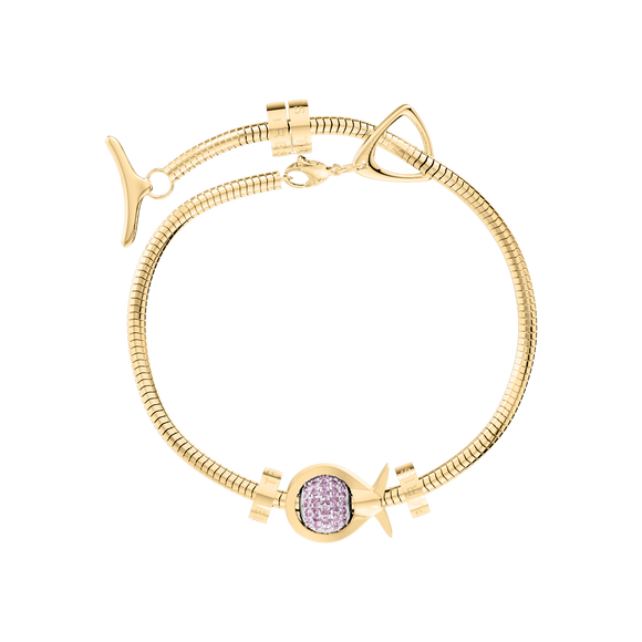 Phiiish Charm Bracelet in Premium 18K Gold Plated Stainless Steel with 8mm Pink Tourmaline Colour Crystal Charm in Sterling Silver