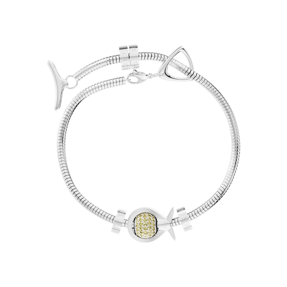 Phiiish Charm Bracelet in Premium 18K Gold Plated Stainless Steel with 8mm Citrine Colour Crystal Charm in Sterling Silver
