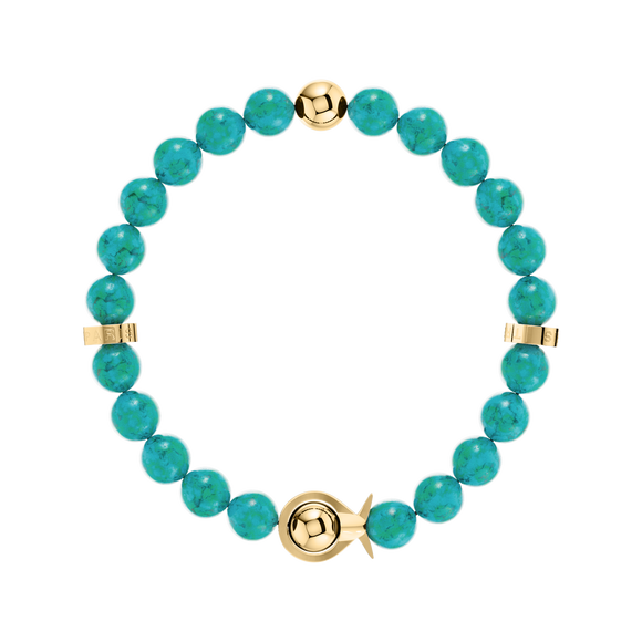 Phiiish Ladies Turquoise Bracelet in Premium Yellow Gold Stainless Steel (L316)