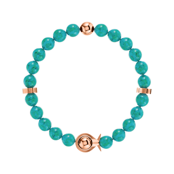 Phiiish Ladies Turquoise Bracelet in Premium Rose Gold Stainless Steel (L316)