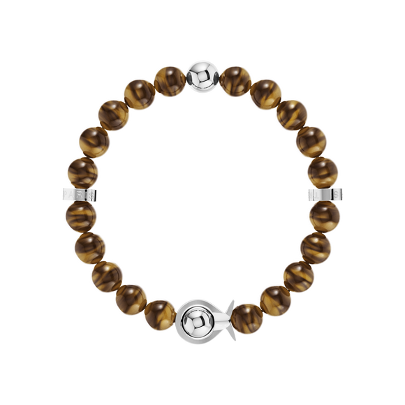 Phiiish Ladies Tiger-eye Bracelet in White Gold Premium Stainless Steel (316L)