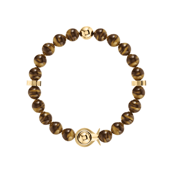 Phiiish Ladies Tiger-eye Bracelet in Premium Yellow Gold Stainless Steel (316L)