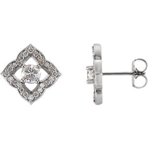 14K White 3/4 CTW Diamond Halo-Style Clover Earrings