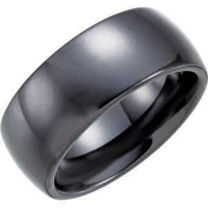 Black Ceramic 8mm Domed Band