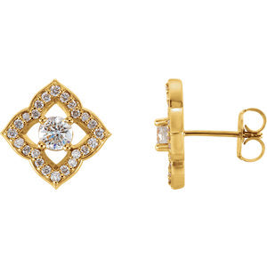14K Yellow 3/4 CTW Diamond Halo-Style Clover Earrings