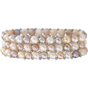 Sterling Silver Freshwater Cultured Natural Multi-Colored Pearl 3 Row Stretch Bracelet